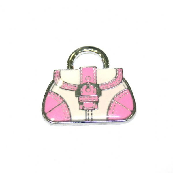 1pce x 24*22mm Rhodium plated light pink handbag with buckle enamel charm - SD03 - CHE1144